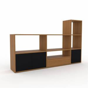 MYCS Bücherregal Eiche - Modernes Regal für Bücher: Schubladen in Eiche & Türen in Schwarz - 190 x 118 x 35 cm, konfigurierbar