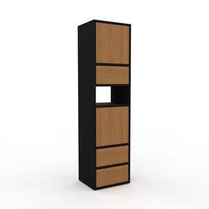 MYCS Holzregal Schwarz - Modernes Regal aus Holz: Schubladen in Eiche & Türen in Eiche - 41 x 157 x 35 cm, Personalisierbar