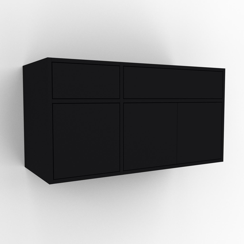 MYCS Hängeschrank Schwarz - Wandschrank: Schubladen in Schwarz & Türen in Schwarz - 116 x 61 x 47 cm, konfigurierbar