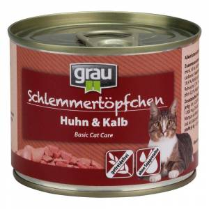 Grau 6 x 400g Schlemmertöpfchen Huhn & Kalb Grau Katzenfutter nass