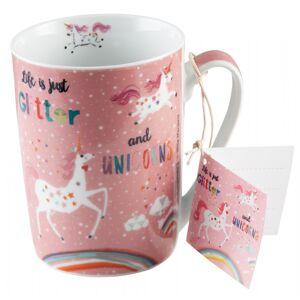 PFIFF BecherTasse Glitter&Unicorns rosa One Size