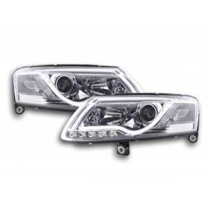 FK-Automotive Scheinwerfer Set Daylight LED TFL-Optik Audi A6 4F Bj. 04-08 chrom
