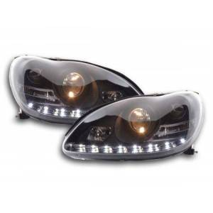 FK-Automotive Scheinwerfer Set Daylight LED TFL-Optik Mercedes S-Klasse Typ W220 Bj. 98-05 schwarz