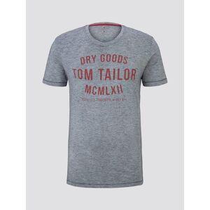 TOM TAILOR T-Shirt mit Print, Herren, navy white yarndye stripe, Größe: L