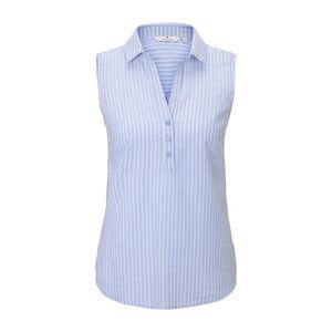 TOM TAILOR Ärmellose Hemdbluse mit Streifenmusterung, Damen, blue dobby stripe, Größe: 42