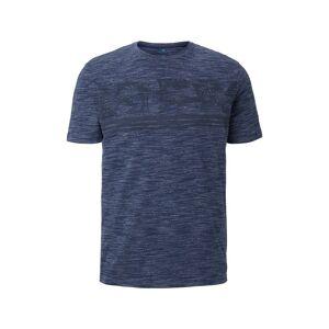 TOM TAILOR Meliertes T-Shirt mit tropischem Print, Herren, Black Iris Blue, Größe: XXXL