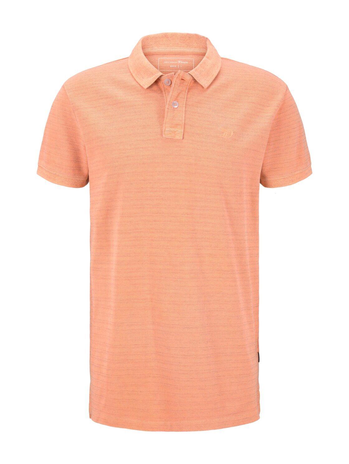 TOM TAILOR DENIM Poloshirt in Melange-Optik mit Stickerei, Herren, neon orange white melange, Größe: S