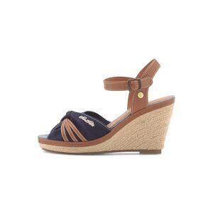 TOM TAILOR Sandalette mit Keilabsatz und Lederdetails, Damen, navy, Größe: 40