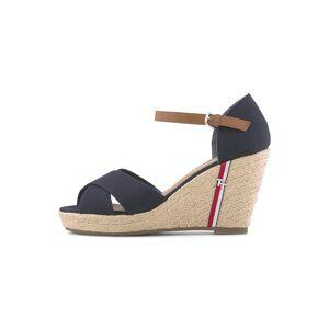 TOM TAILOR Sandalette mit Keilabsatz und Lederdetails, Damen, navy, Größe: 39