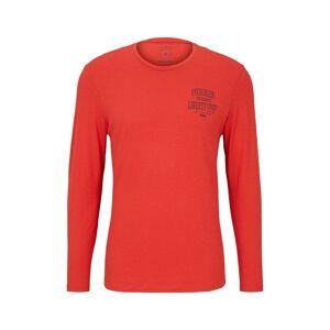 TOM TAILOR Langarmshirt mit Brustprint, Herren, blood orange, Größe: XXL