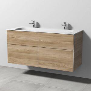 Sanipa 3way Waschtischkombination mit Keramik-Doppelwaschtisch Finion 120 cm, 4 Auszüge, 2x 1 Hahnloch   ulme natural touch BR40415