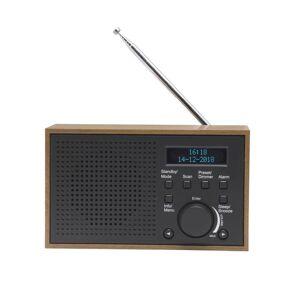 Denver Retroradio mit Weckfunktion in Holzoptik, dunkelgrau DAB-46