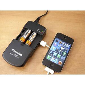Camelion Tischladegerät für Li-Ion Akkus, verstellbare Kontakte + USB, AA, AAA