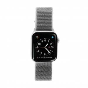 Apple Watch Series 4 Aluminiumgehäuse silber 44mm mit Sport Loop muschelgrau (GPS) aluminium silber