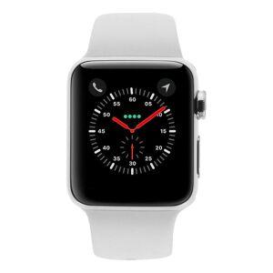 Apple Watch Series 3 Edelstahlgehäuse 38mm silber mit Sportarmband weiss (GPS + Cellular) edelstahl silber