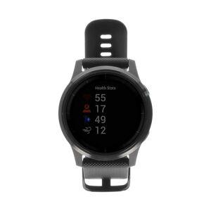Garmin Vivoactive 4 Edelstahlgehäuse schwarz 44mm mit Silikonarmband schwarz schwarz