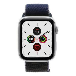 Apple Watch Series 5 Aluminiumgehäuse silber 44mm mit Sport Loop mitternachtsblau (GPS) silber