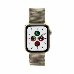 Apple Watch Series 5 Edelstahlgehäuse gold 40mm mit Milanaise-Armband gold (GPS + Cellular) gold