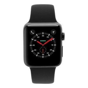 Apple Gebraucht: Apple Watch Series 3 Edelstahlgehäuse schwarz 42mm mit Sportarmband schwarz (GPS + Cellular) edehlstahl schwarz