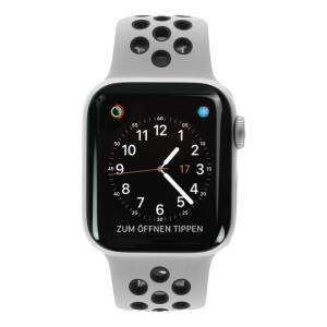 Apple Gebraucht: Apple Watch Series 4 Nike+ Aluminiumgehäuse silber 40mm mit Sportarmband platinum/schwarz (GPS+Cellular) aluminium silber