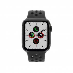 Apple Gebraucht: Apple Watch Series 5 Nike+ Aluminiumgehäuse grau 44mm mit Sportarmband schwarz (GPS + Cellular) grau
