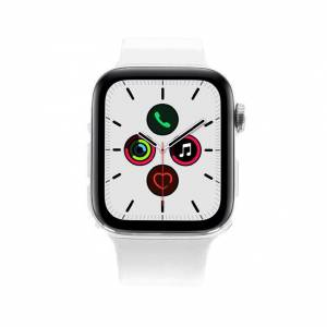 Apple Gebraucht: Apple Watch Series 5 Edelstahlgehäuse silber 44mm mit Sportarmband weiß (GPS + Cellular) weiß