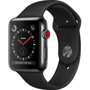 Apple Watch Series 3   42 mm   Edelstahl   GPS + Cellular   schwarz   Sportarmband schwarz