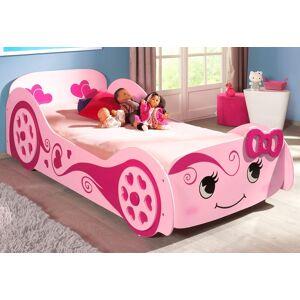 Vipack Autobett, mit Lattenrost rosa