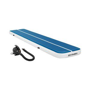 Gymrex Set Aufblasbare Turnmatte inklusive Luftpumpe - Airtrack - Airtrack - 500 x 100 x 20 cm - 250 kg - blau/weiß
