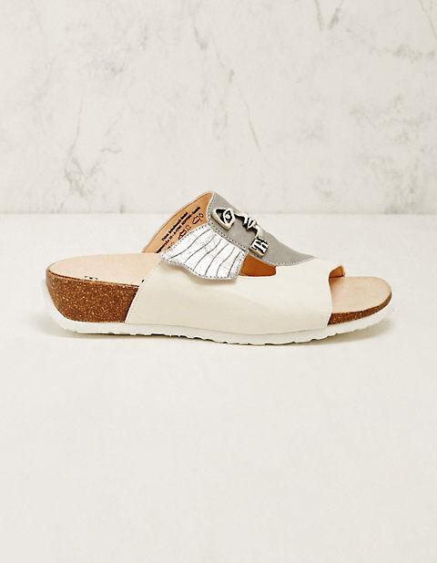 Think Damen Leder-Pantoletten Ursel weiß-grau Sandalen - auch in Übergrößen