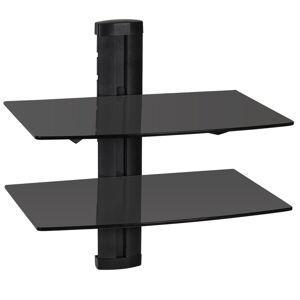tectake Wandregal mit 2 Ablagen für DVD-Player und Receiver, 45x42x30cm - schwarz