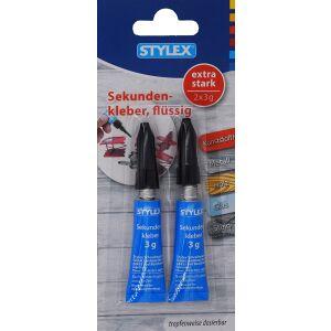 STYLEX Schreibwaren GmbH STYLEX® Sekundenkleber, Kleber für alle Materialien inkl. Glas, 1 Packung = 2 x 3 g - Tube