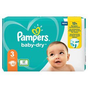 Procter & Gamble Service GmbH Pampers Baby Dry Midi Windeln 6-10 kg, Größe 3, Der ideale Schutz für die empfindliche Haut Ihres Babys, 1 Packung = 42 Windeln