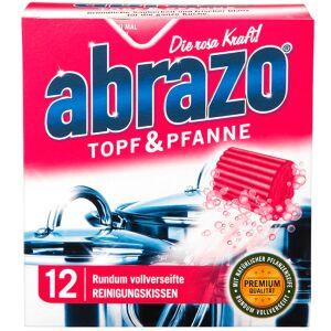 abrazo Topf & Pfanne Reinigungskissen, Topfschwamm aus feiner Stahlwolle, rundum vollverseift, 1 Packung = 12 Stück