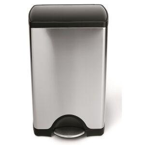 simplehuman Ltd simplehuman Treteimer mit Kunststoffdeckel, rechteckig, Platzsparender Abfalleimer mit Innenscharnier, Fassungsvermögen: 38 Liter