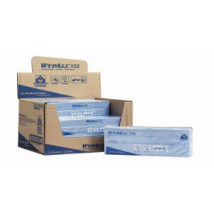 Kimberly Clark Deutschland GmbH WYPALL* X50 Wischtücher - Interfold, geprägt, blau, 59 g/m², 1 Karton = 6 Boxen á 50 Stück