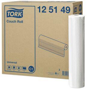 Essity Professional Hygiene Germany GmbH Tork Universal Liegenabdeckung, Tissue, 1-lagig, hochweiß, perforiert, geprägt, 49 x 38 cm, 1 Karton = 8 Rollen x 50 m = 1.056 Tücher