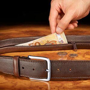 Chiarugi Geldgürtel mit verstecktem Fach, Reisegürtel, Leder, braun, 95 cm