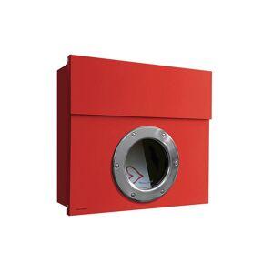 Radius Design Letterman 1 Briefkasten rot (RAL 3020) ohne Klingel mit Pfosten in Briefkastenfarbe