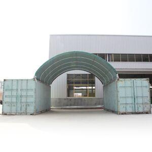 Profizelt24 Containerüberdachung 6x6m PVC 720 g/m² dunkelgrün wasserdicht
