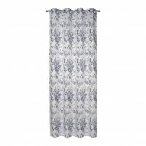 James Wood Vorhang mit Ösen Tafiti B: 140cm, Blau/Siber