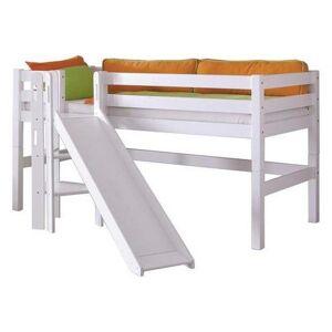 Spielbett Eliyas Weiß Buche Massiv 90 cm Rutsche Leiter
