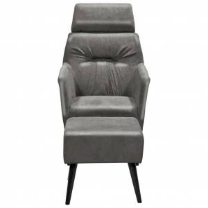 MID.YOU Relaxsessel mit Hocker Andre Polyester Dunkelgrau