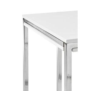 MID.YOU Couchtisch Holzdekor + Eisen Reno Mini Weiß/Silberfarben