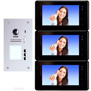 Anykam 607F-S3 DT27B Video Türsprechanlage Videosprechanlage 3-Familienhaus 2Draht