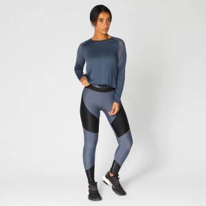 Myprotein Metallic Long Sleeve Top — Navy - M