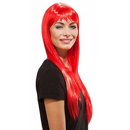 Perruque cheveux longs avec frange, rouge