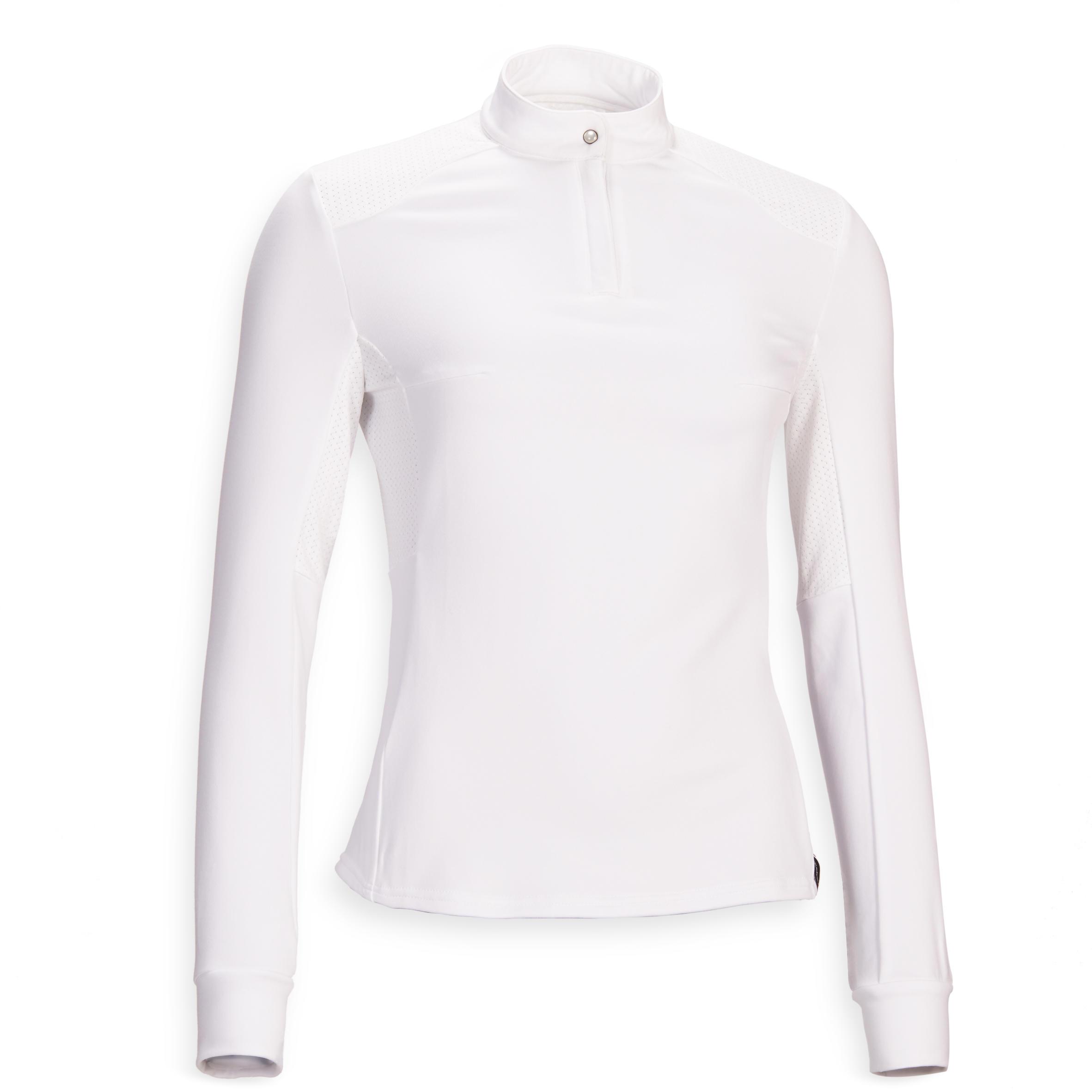Fouganza Polo concours d'équitation femme à manches longues et chaud 500 COMP blanc - Fouganza