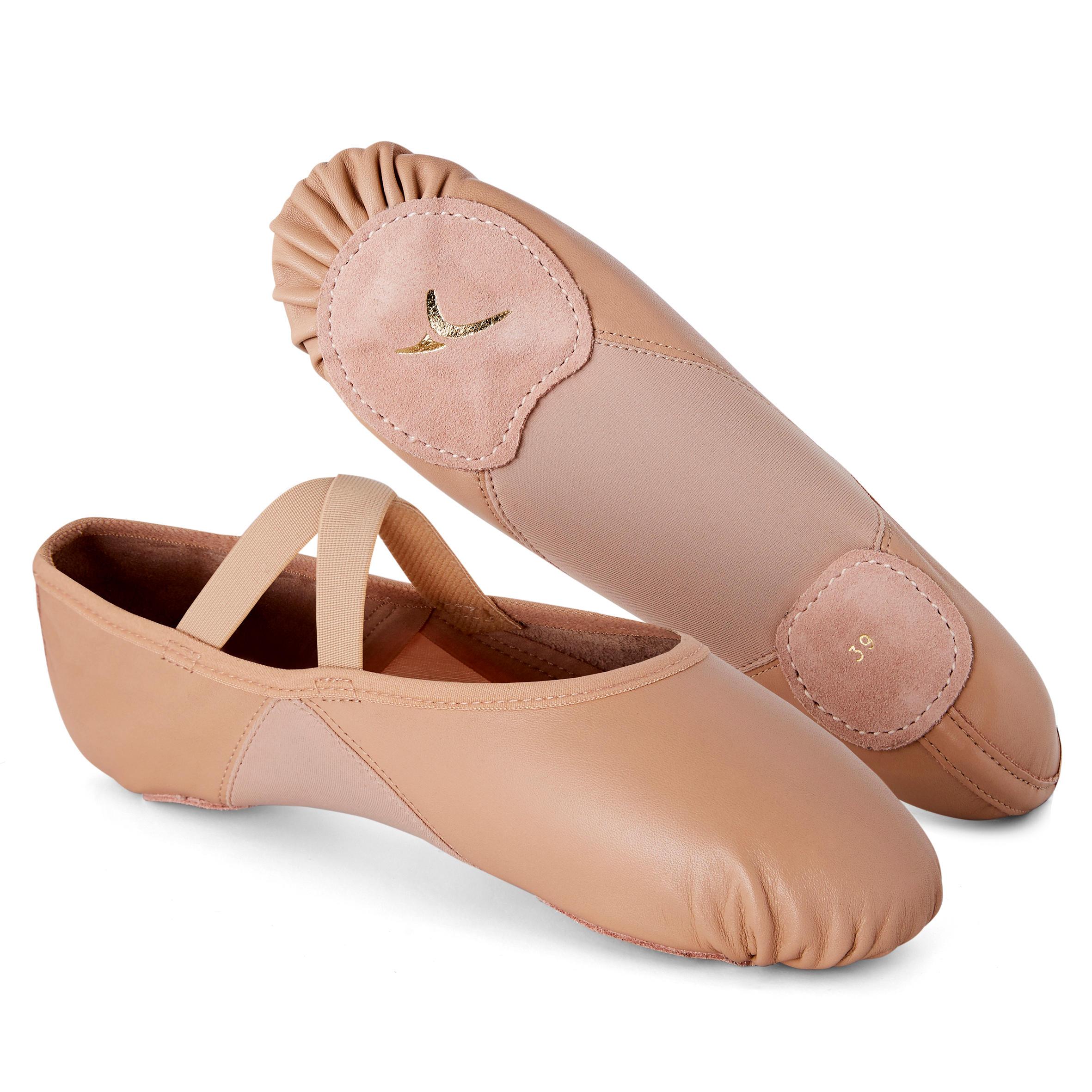 Domyos Demi-pointes danse classique bi-semelles en cuir souple beige tailles 28-40 - Domyos