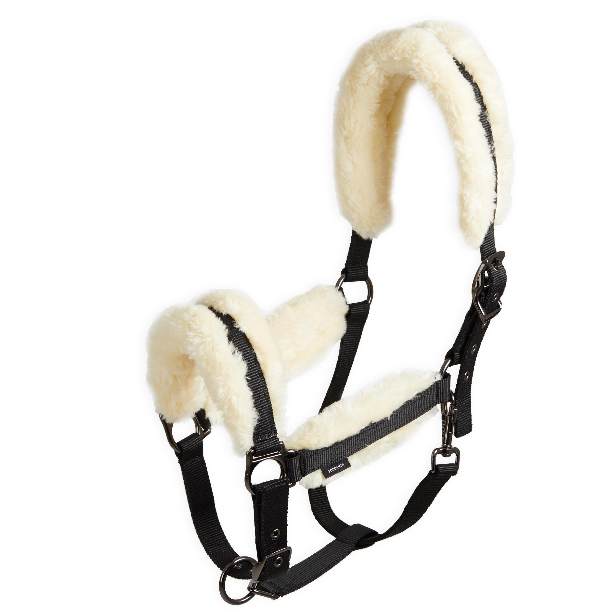 Fouganza Licol mouton équitation cheval noir et beige. - Fouganza